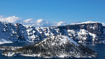 OREGON CRATER LAKE SKY CLOUD SNOW WATER ISLAND H2OMARK LAPKIN ART PHOTO LANDMARK NATIONAL PARK